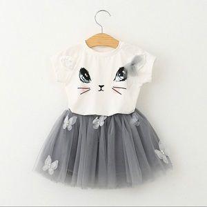 Other - Grey Cute Kitten Print T-Shirt & Tutu Skirt